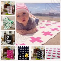 Wholesale 20 design KKA109 Baby Blanket Black White Cute Rabbit Cross Knitted Couverture Plaid Mantas Bed Spread Bath Towels Kids Ins blankets