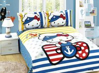 Wholesale Children Cartoon bedding twin size Boy girl Hello Kitty bedding sets single bed quilt cover sheet pillowcases bed linens set