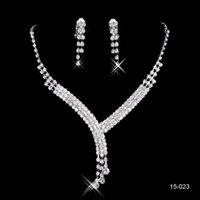 Wholesale Stone Necklace Clasp - Hot Sale In Stock Cheap Shinning Rhinestone Wedding Party Earring Bracelet Necklace Ring Jewel Set for Women Prom Evening Free Ship 15023