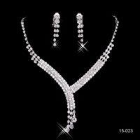Vente Chaude En Stock Pas Cher Shinning Rhinestone Wedding Party Boucle D'oreille Bracelet Collier Bijou Jewel Set Pour Femmes Prom Soir Free Ship 15023