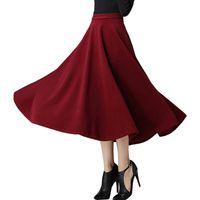Wholesale 2016 New Women Long Winter Skirt European Style Vintage Hepburn Wind Solid High Waist Bown Gown Wool Maxi Skirt faldas largas
