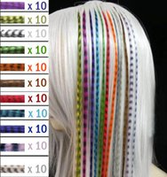 Wholesale Colorful Length inch cm colors Synthetic Available Grizzly Loop Feather Hair Extensions Hairpiece