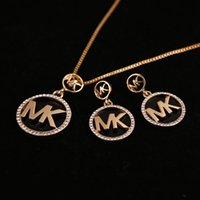 american meteor - Hot fashion rhinestone letter necklace earrings earring sets gold silver meteor alphabet letter pendant jewelry factory direct