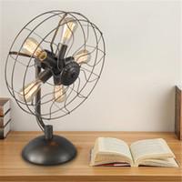 bedside fan - Loft Wrought Iron Fan Lampshade Table Lamp for bedroom Vintage Industrial desk Lamp bedside Lamp Light Fixture luminaires abajur