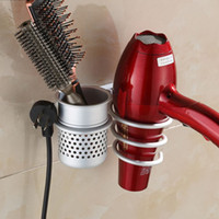 Wholesale Stainless ALUMINIUM Wall Mounted Hair Dryer Drier Comb Holder Rack Stand Set Storage Organizer Cylinder New Excellent Quality Popular