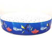 Wholesale 7 inch mm Blue Clownfish Printed Grosgrain Ribbon Ruban Customized Cartoon Handmade Girl Hairbows Craft Webbing Accessory Cintas Yards