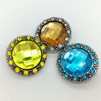 Wholesale Ginger Snap Button Rhinestone Chunk Charm Button mm Interchangeable Gem Style Diy Jewelry For Noosa Snap Bracelet Necklace Ring