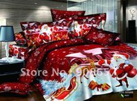 Wholesale Egyptian cotton printed bedroom red cartoon quilt duvet covers sets Christmas bedding sets for home textile queen full comforter