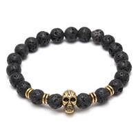 achat en gros de bracelets faits main roche-Lava Pierres naturelles Elastic Skull Beads Charms Bracelets Volcanic Rock Bracelets Charme Bracelets de prière Bracelet Diffuseur à la main Bijoux