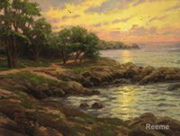 bay thomas - modern landscape art SUNSET ON MONTEREY BAY Thomas Kinkade paintings Handmade High Quality