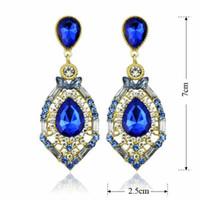 blue jade earrings - Woman Earrings Fashion Jewelry Vintage palace Earrings for women dangling Earing classical crystal earings ER Retail sales