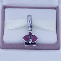 Wholesale 925 Sterling Silver Orchid silver dangle with clear purple C Z and purple enamel DIY Beads Fits Pandora Charms Bracelet women pc