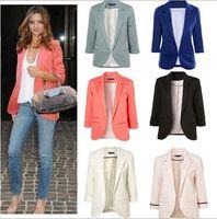 Cheap Wholesale high quality 2016 New Women Casual Slim Suit Blazer Jacket Coat 3 4 Sleeve Outwear Business Blazer