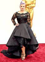 Wholesale Oscar Kelly Osbourne Celebrity Dresses KR Scoop Long Sleeved Lace Scallop Black High Low Red Carpet Sheer Evening Dress Party Gowns