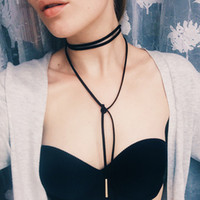 animals women tube - black leather necklace elegant Fashion Long Rope collier femme Tube False choker Collar Necklace for women length cm