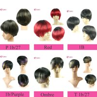 Wholesale 8 quot Cheap Short Human Hair Wigs Bob Style Blonde Brown Red Black Purple Remy Brazilian Human Hair Capless Wigs Machine Made Straight Wig
