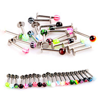 Wholesale 20Pcs Ball Lip Rings Bar Piercing Jewelry Stainless Steel Jewelry C00042 CAD