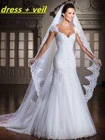 Wholesale 2016 Vestido De Noivas New Design Backless Appliques Lace Up Back Bridal Gown Wedding Dresses Detachable Train