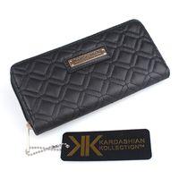 Wholesale KARDASHIAN KOLLECTION Women Famous Brand Designer PU Leather Wallet Female Plaid Thread Purse Girl KK Clutch Clip Portefeuille Femme KK0160