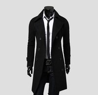 Wholesale New Fashion Stylish Mens Trench Coat Winter Jacket Double Breasted Coat Overcoat woolen Outerwear Long jaqueta M XXXL pea coats