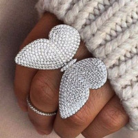 asian wedding sets - luxury design made of sterling silver the moving butterfly ring with white zircon wedding jewelry