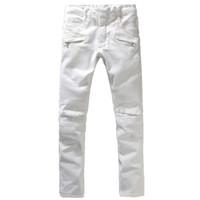 Wholesale Men s fashion white sim straight biker jeans Male casual large size stretch denim pants Long trousers