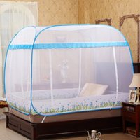 Wholesale High Quality Mosquito Nets Folded Blue Purple Quadrate China Mosquito Curtain Three door Adult Double Bed Netting Tent