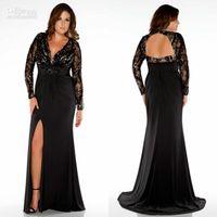 Custom Made Mãe Preta da Noiva Vestidos V-neck Lace Top Sem Costas Dividir Side Long Sleeve Vestido Plus Size