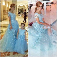best fitting shorts - Sky Blue Lace Appliques Prom Dresses Tulle Mother And Daughter Formal Matching Dresses Best Fitted Flowers Girls Dress Prom Party Gowns