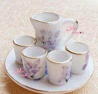 Wholesale Toy Porcelain Round Dish Jar CUPS Dollhouse Miniature Tea Cup Set