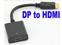 Wholesale 500pcs Thunderbolt Display Port DisplayPort DP Male to HDMI Female Converter Cable Adapter PC Laptop