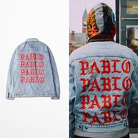 blue jean jacket - 2016 KANYE WEST SEASON oversized PABLO men Jackets broken hole jean coat HIPHOP Motorcycle jacket men Jeans denim jacket