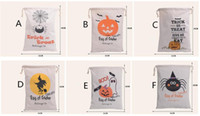 decorative bags - 2016 Hot Sale cm Halloween Canvas bags Styles Large cotton Drawstring Bag Pumpkin devil spider Hallowmas Printed Gifts Sack Bags