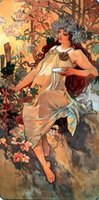 alphonse mucha art - Autumn by Alphonse Mucha Pure Hand painted Figure Art oil painting On Canvas MUSEUM QUALITY in any size customized