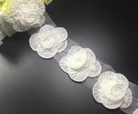 chiffon fabric - 10Yard D Rose Flower Pleated Chiffon Lace Fabric Trim Ribbon For Apparel Sewing DIY Collar Doll Cap Hair clip