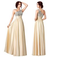 Wholesale Silver New One Shoulder Stain backless evening dresses Beaded Ruffles long Crystal Prom Dresses Evening Gowns