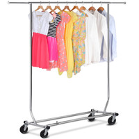 belt storage rack - Chrome Heavy Duty Commercial Grade Clothing Garment Rolling Collapsible Rack US