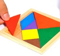 Wholesale PC Wooden tangram piece puzzle square IQ game Brain teaser Intelligent Toy TW