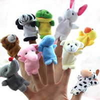 Wholesale 10pcs Plush Animals Hand Puppets Sets Cute Cartoon cm cm Panda Rabbit Puppy Piggy Story Finger Toys For Kids Xmas Birthday Party Gift