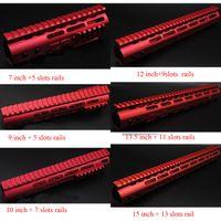 ar steel - 7 Red Rail Mount Keymod Handguard with Steel Barrel Nut Rail Fit AR