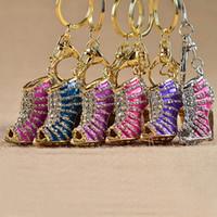 Wholesale Crystal High Heel shoes keychain key rings crystal shoes Carabiner Keychain handbag hangs women Metal keyring jewelry Christmas gift