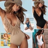 Wholesale 2016 summer in Europe and the tassel one piece women sexy bikini swimsuit conjoined vest