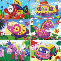 Wholesale 12 Patterns Kids Foam Mosaic Stickers Art Puzzle DIY D Diamond Pasted Cartoon Character Children s Educational Toy