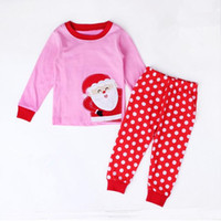 Wholesale Pink Red White Polka Dots Child Christmas Pajamas Sets Santa Claus Girls Nightwear Clothes Trim Baby Toddler Top Pants Set