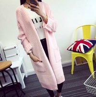 big computers - Women sweater cardigan autumn winter fashion casual thick knitting cardigan sweater big pocket female long coat