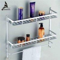 bathroom corner furniture - Two Layer Bathroom Rack Space Aluminum Towel Washing Shower Basket Bar Shelf bathroom accessories bath furniture
