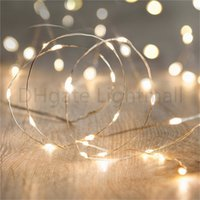 Wholesale 2 M Chrismas Decorative LED strip Battery Operated Fairy Lights IP65 Waterproof Cool Warm White LEDs led neon Silver Copper Wire string