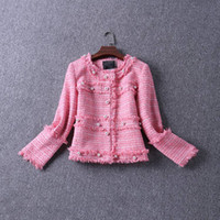 Wholesale High Quality New Brand Women s Tweed Jackets Autumn Winter Outerwear Pearl Button Elegant Out Fit
