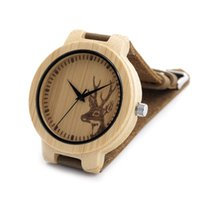 bamboo japanese - Natural Bamboo Wooden Watch with Genuine Brown Leather Strap Japanese Quartz Movement Casual Watches men women sport watch Chirstmas gift