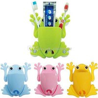Wholesale 1x Cute Frog Toothbrush Makeup Tools Wall Stick Paste Organizer Holder Hook E00222 SPDH